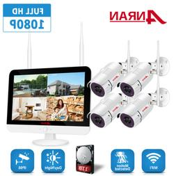 """ANRAN 1080P 8CH 12"""" Monitor Home Security Camera System Wire"""