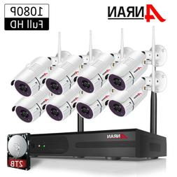 ANRAN 1080P 4/8CH Wireless Security Camera System Outdoor 2T
