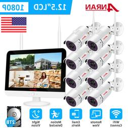 1080P Home Security Camera System 12inch monitor Wireless 8C