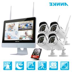 """ANNKE 1080P Wireless 12"""" Monitor 4CH NVR Home Security Camer"""