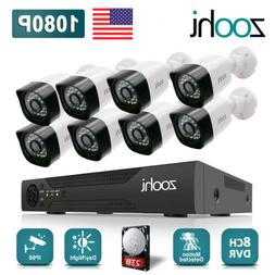 2.0MP HD Home Security Camera System CCTV Video 8CH DVR 5in1