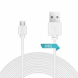 2 Pack 26ft/8M Micro USB Power Extension Cable Cord for Home
