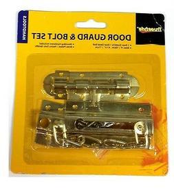 2PC BRASS DOOR SECURITY CHAIN GUARD LOCK & SOLID DOOR DEAD B