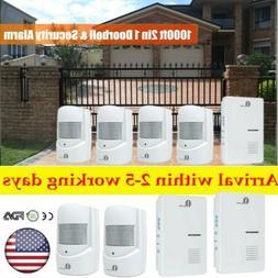 300m Home Security Wireless Driveway Alarm Door Bell 2/3 Mot