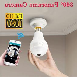 360°HD Wifi Bulb Hidden IP Camera Panoramic Home Security S