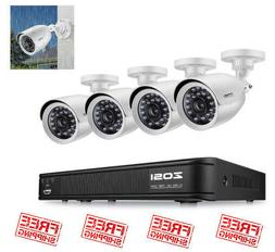 4 Camera Security DVR Home Night Vision HD Wifi Wireless 8CH