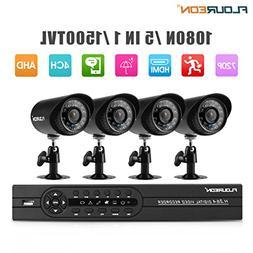 FLOUREON House Camera 4CH DVR Home Security System 1080N AHD