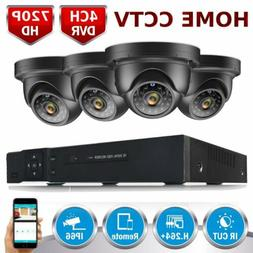 4CH Home Security Camera System 1080P DVR 4x HD 720P CCTV IR