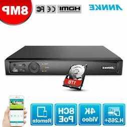 ANNKE 4K 8MP 8CH NVR POE IP Smart Search H.265 Video Recorde