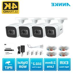 ANNKE 4pcs 4K 8MP CCTV HD TVI Security Camera IP67 Outdoor H