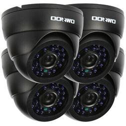OWSOO 4pcs 800TVL CCTV Camera Kit IR-CUT+4* Cable Home Secur