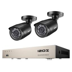 ZOSI 8CH H.265+ 1080N DVR 2PCS 1080P Outdoor Bullet Camera H