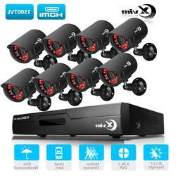 XVIM 8CH 1080P CCTV DVR 1500TVL Outdoor Home Surveillance Se