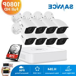 SANNCE 8CH DVR Full 1080P TVI Video Home Security Camera Sys
