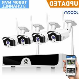 8CH 1080P HDMI NVR Outdoor IP Camera CCTV Audio Home Wireles