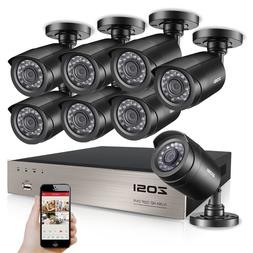 ZOSI HD 8CH 1080P DVR 720P Outdoor Home Surveillance Securit