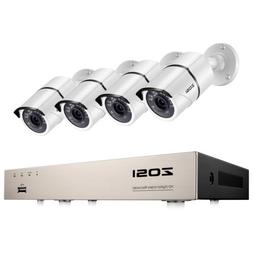 ZOSI 1080p 8CH DVR Outdoor Security System with 4 2MP Night