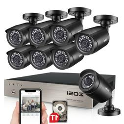 ZOSI 8CH H.265+ 5MP Lite DVR 1080P Outdoor Home Security Cam