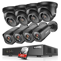 ANNKE 8CH Security System 1080N DVR Recorder with 1TB HDD an