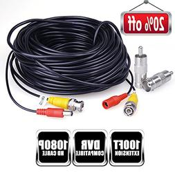 Faittoo 100 Feet BNC Video Power Cable Security Camera Wire
