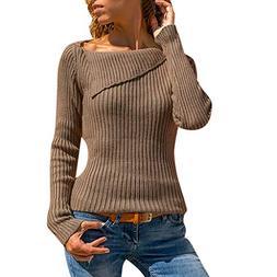 ANJUNIE Women Casual Knitting Pullover Long Sleeve Turn Down