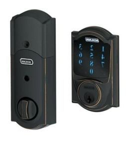Schlage Deadbolt With Alarm Wifi Alarm Touchscreen Aged Bron