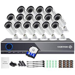 DEFEWAY TURE 1080P Video Security System,16 Channel DVR with