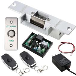 Door Access Control Kit with Electric Strike Lock Remote Con