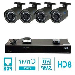 GW 8 Channel H.265 NVR 5-Megapixel Security Camera System, 4