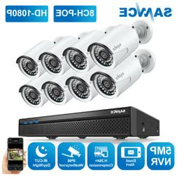 SANNCE H.264+ 5MP 8CH NVR 1080P POE Audio Home Security Came