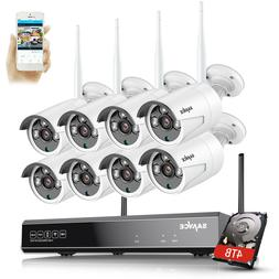 SANNCE HD 1080P CCTV IP Camera Wireless Wifi System 8CH NVR