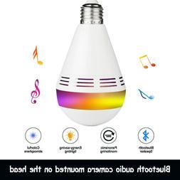 Panoramic Wifi IP Camera Light Bulb Home Security Lamp Fishe