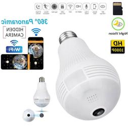 HD1080P 360° Panoramic Hidden Wifi IP Camera Light Bulb Hom