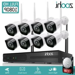 1080P WIFI Home Security Camera System CCTV 8CH NVR HDMI Out