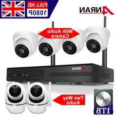 Home Security Camera System Wireless Audio 1TB HDD 8CH In/ou