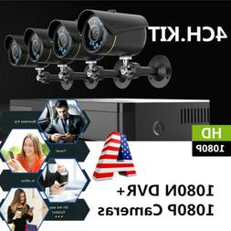 Home Security CCTV Camera System 8CH+4X 1080P Camera DVR Nig