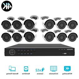 LaView 16 channel 4K home security system with 12 8MP 4K Bul
