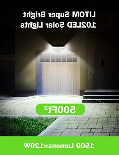 LITOM Super Solar Outdoor, Solar Sensor Lights with 270°Wide Lights for Yard, Garage,