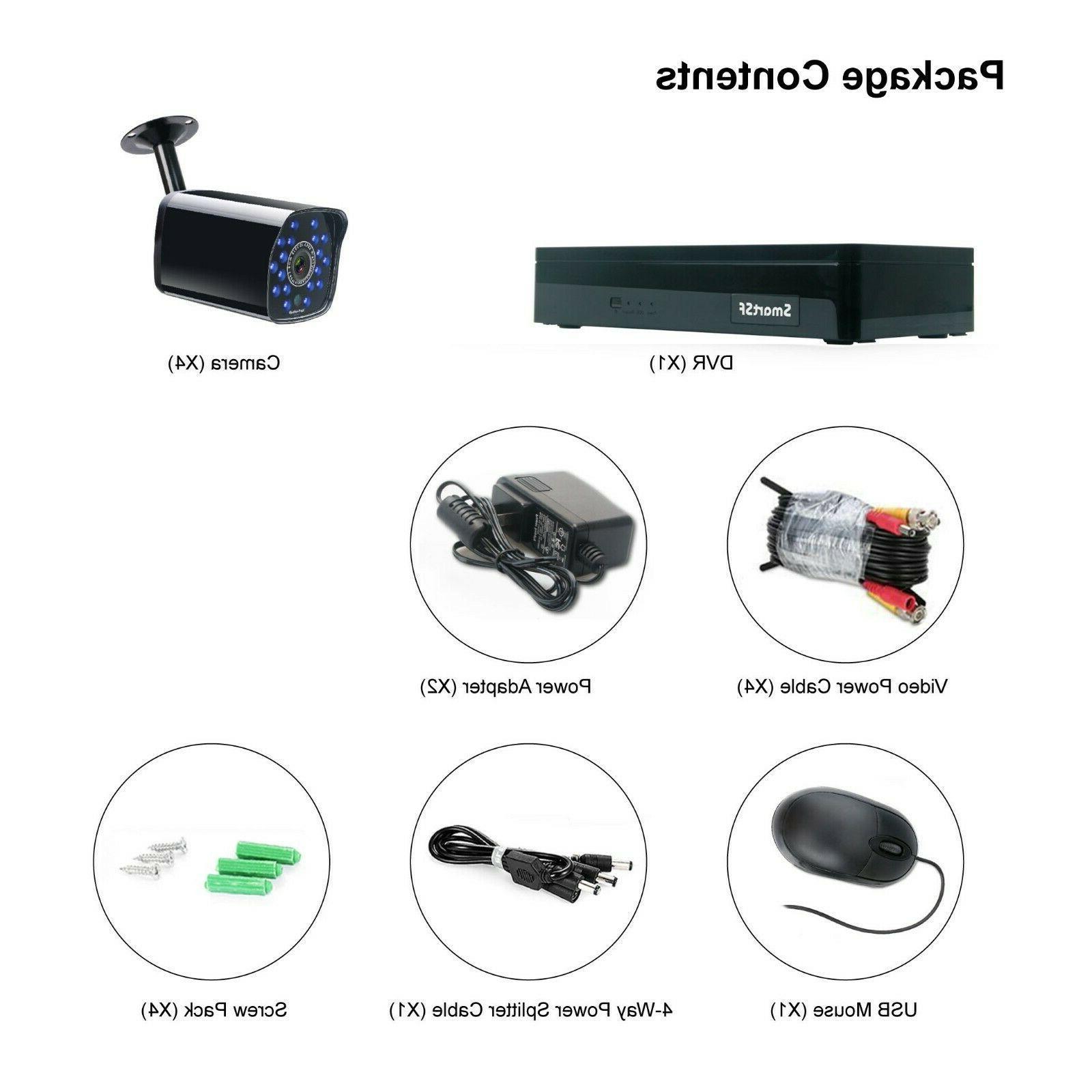 SmartSF 4CH Outdoor Home Security Camera HD CCTV Recorder