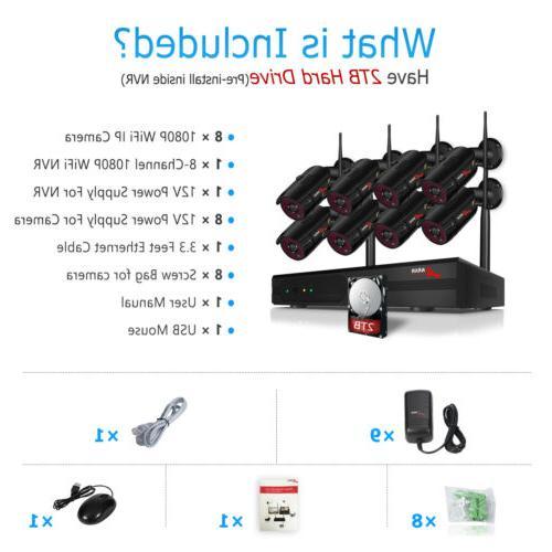 ANRAN Camera System 1080P Outdoor 2TB Hard CCTV NVR