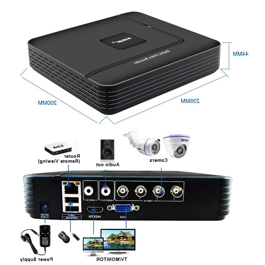 Smar 4CH CCTV DVR 1080P AHD Outdoor Weatherproof <font><b>Home</b></font> <font><b>Security</b></font> Video Lens