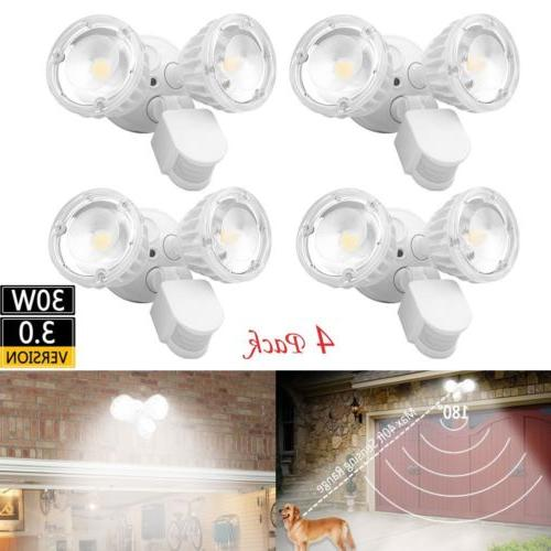 4x Home Security LED Floodlight Motion Activated Lamp For Ga