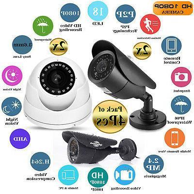 4x Sony CCTV Security Bullet & Dome Camera AHD IR 18 LED Len