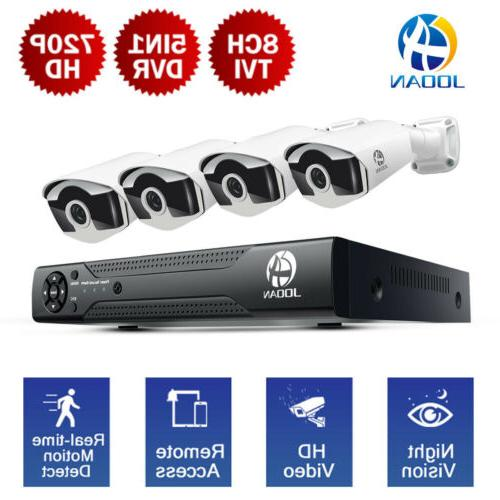 JOOAN 5in1 8CH 1080N DVR 4 720P Night Vision Home Outdoor Se