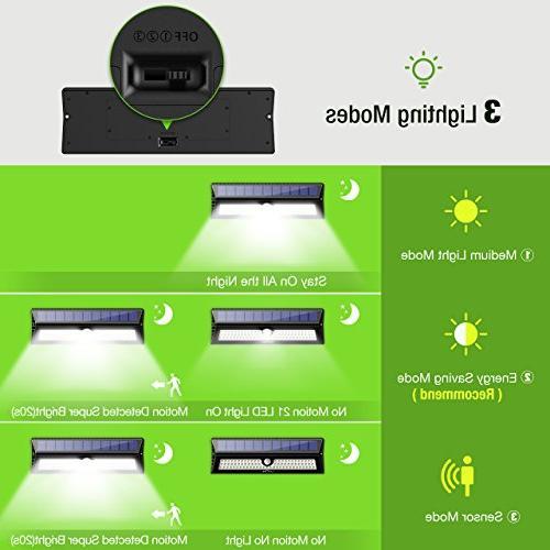 Litom 77 Super Bright Solar Lights Solar Sensor Security Light Wireless Waterproof Wall Lights for Front Door, Back Deck, Step