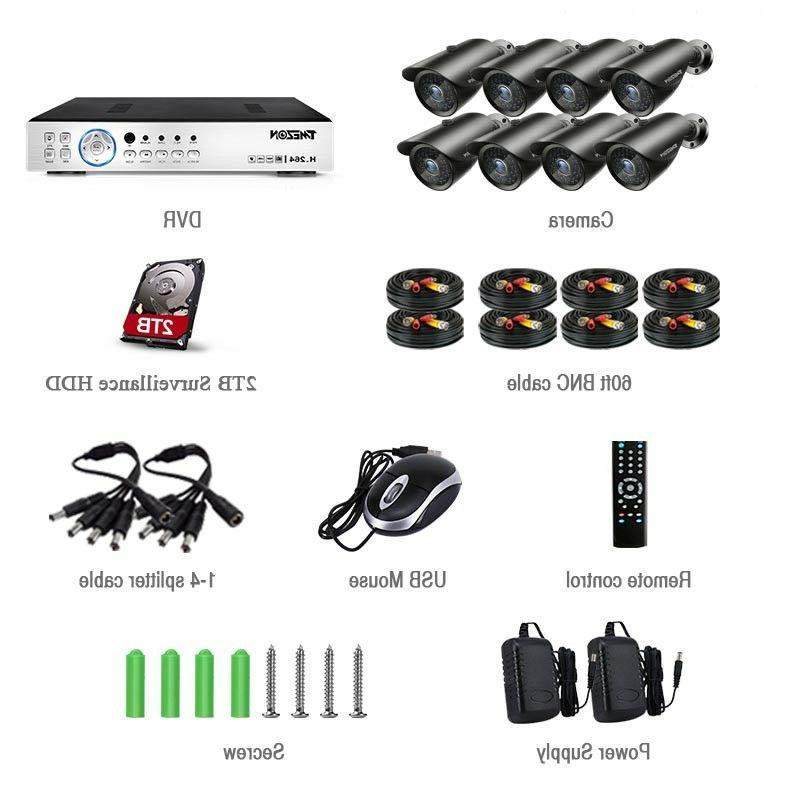 TMEZON 8CH DVR Bullet CCTV System 2TB