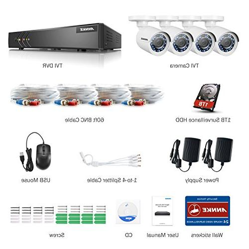 ANNKE 8 Channel Camera System 5-in-1 lite H.264+ DVR Drive Weatherproof with LEDs, email alert with images