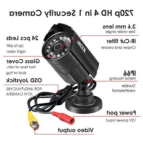 ZOSI HD Hybrid CCTV Camera IR-LEDs Home Security Camera Aluminum Housing For AHD, and DVR