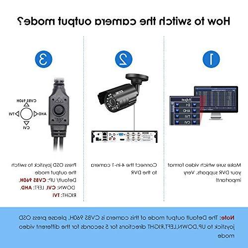 ZOSI Hybrid CCTV Home Waterproof Camera Metal Housing and CVBS/960H analog DVR