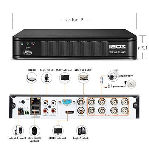 ZOSI Security CCTV DVR 1.0MP Night Vision Indoor/Outdoor Weatherproof Cameras